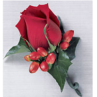 Single Red Rose Boutonnière