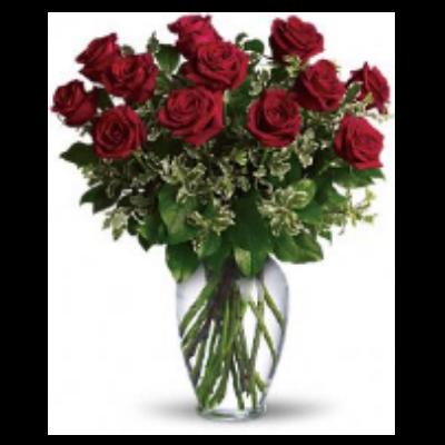 One Dozen Roses Arranged