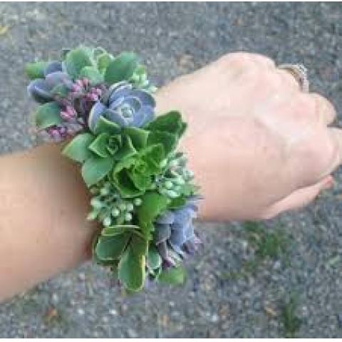 Succulent wrist corsage