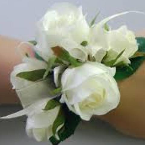 White Rose Wristlet