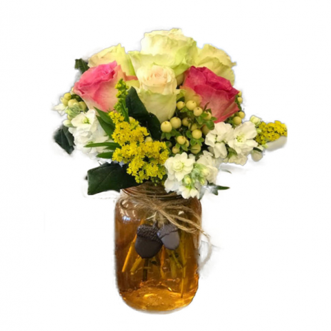 The Mason Jar by Fremont Flowers - Orange