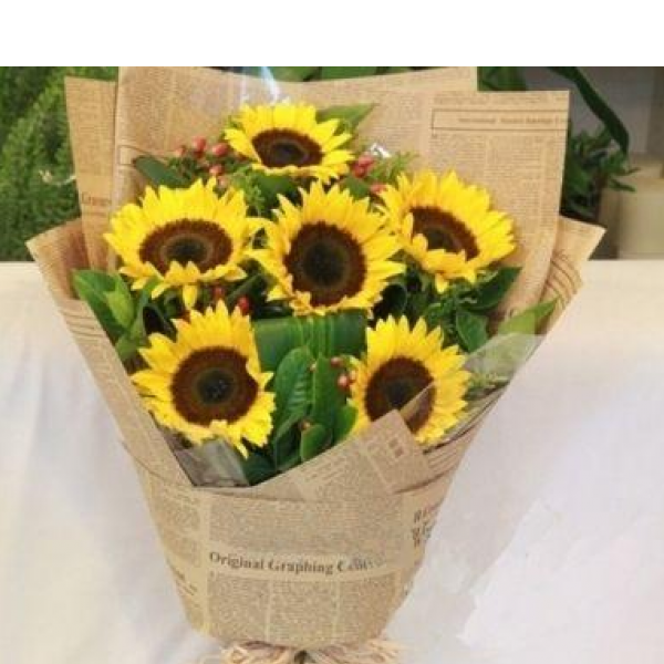 Sunflower wrapped bouquet