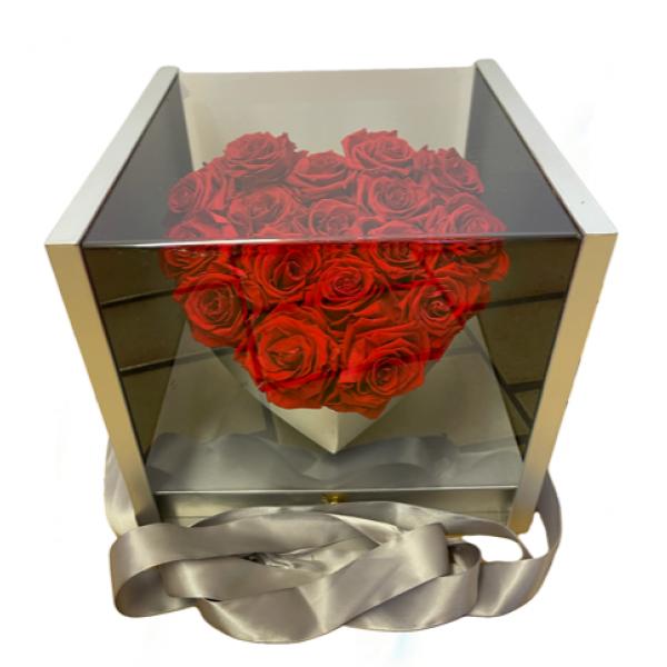 Forever Rose Heart Box red roses