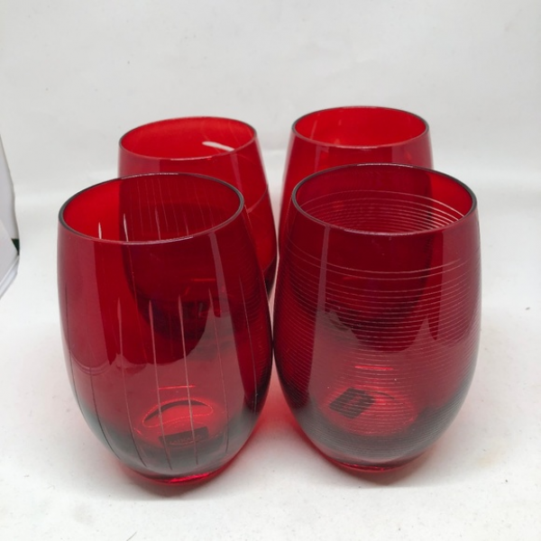 WINE GLASS STEMLESS RED BY MIKASA 15.75oz