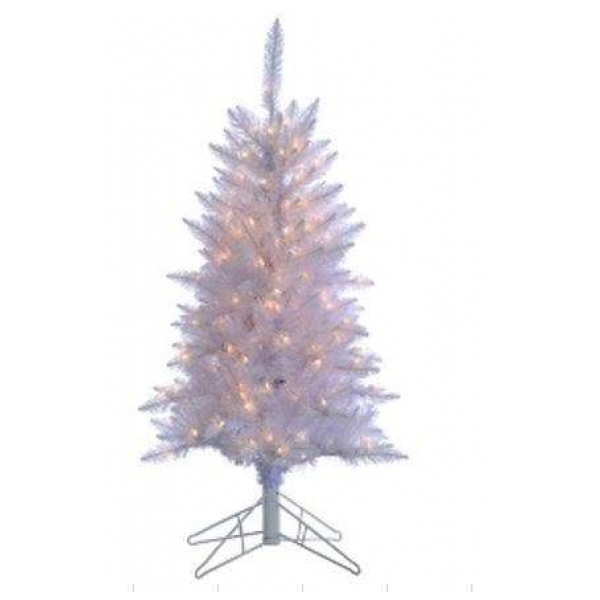 Tree white Tiffany Tinsel Clear Lights 4FT