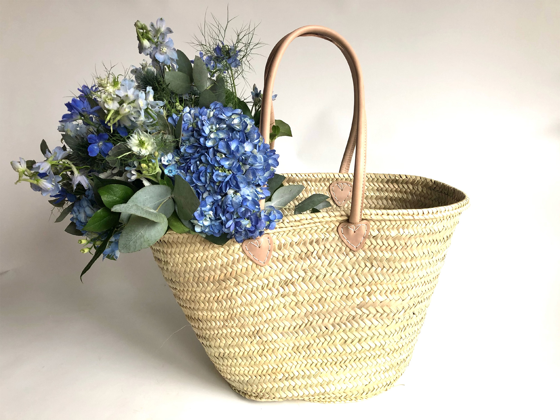 Market Tote with Denim Blue Flower Bundle