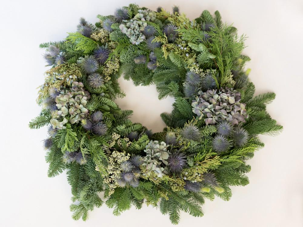 Blue Thistle Wreath