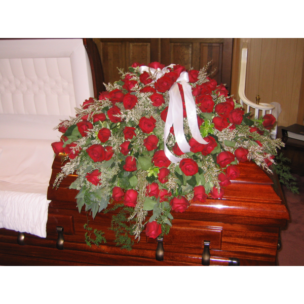 All Red Roses Casket Cover
