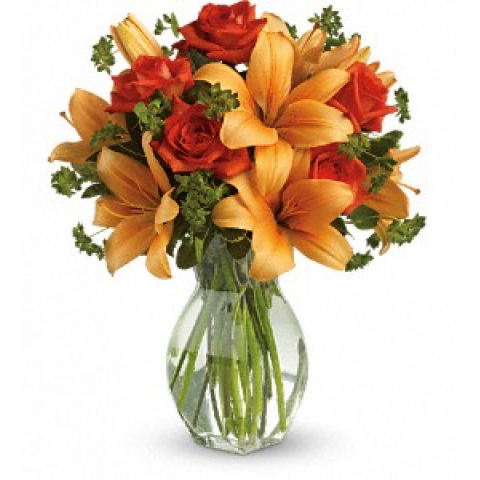 Fiery Lily & Rose Bouquet