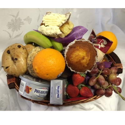 Bagel Muffin Basket with Seasonal Fruits