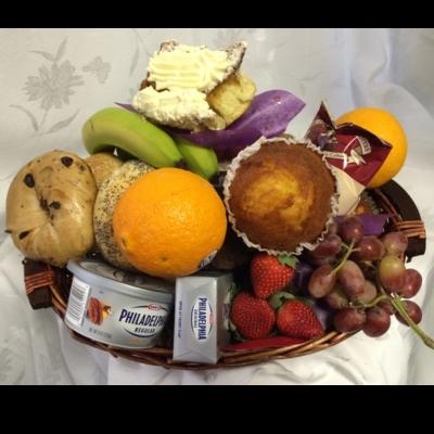 Bagel Muffin Basket with Seasonal Fruits
