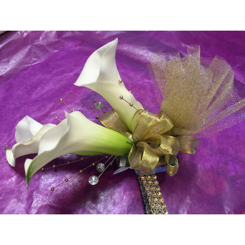 Mini Calla Lily Wristlet with Rhinestones