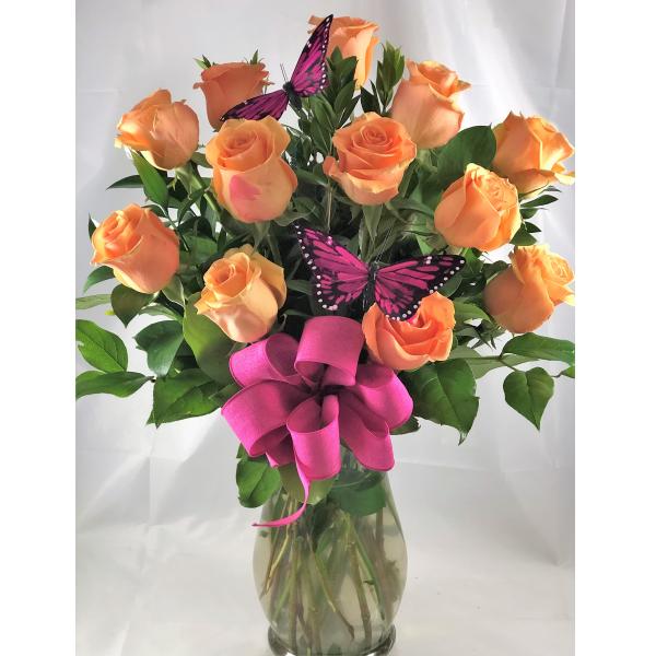 Dozen Peachy Apricot Roses