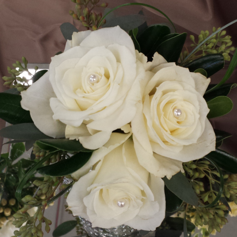 Jacques Flower Shop - Manchester JQP Triple Rose Tussey Mussie