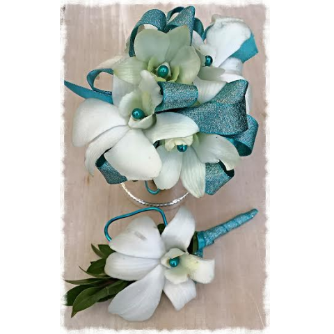 Jacques Flower Shop - Manchester JQP White Orchids and Turquoise