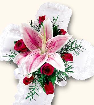 Jacques Flower Shop - Manchester Spiritual Tribute Cross Pillow