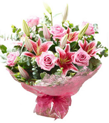 JQ Pink Roses & Lilies Hand Tied Bouquet