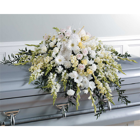 White Casket Spray with Knitting Accents