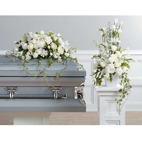 WHITE CASKET SPRAY AND COORDINATING DESIGN