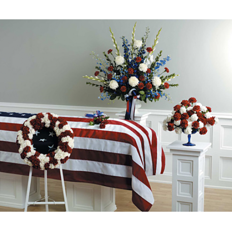 RED,WHITE AND BLUE URN ARRG. AND COORDINATING DESIGNS
