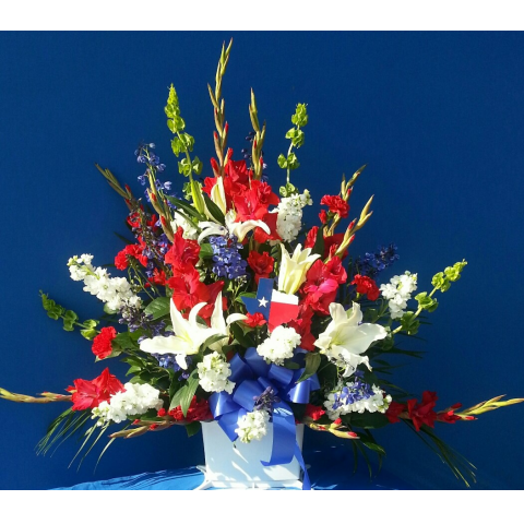 LOG CABIN'S MEMORIAL BASKET ARRANGEMENT