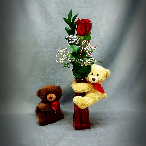 SWEET HUGGUM BEAR AND BUD VASE