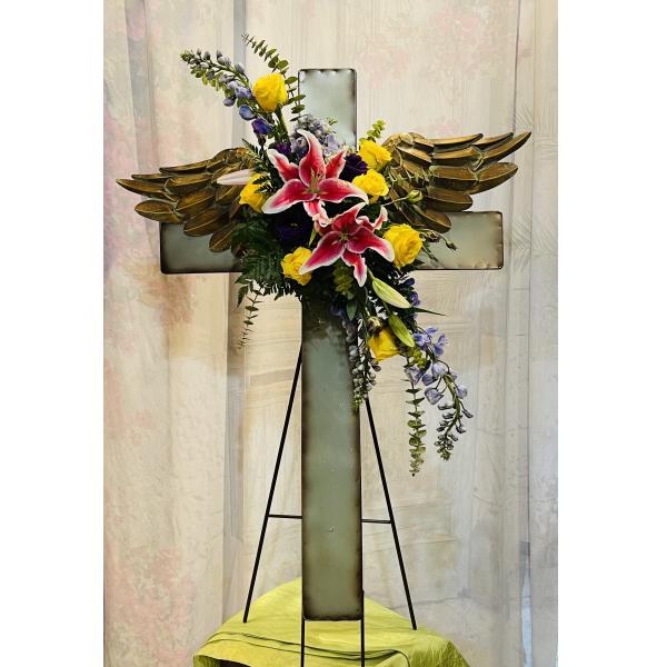 Metal Cross with Angel Wings