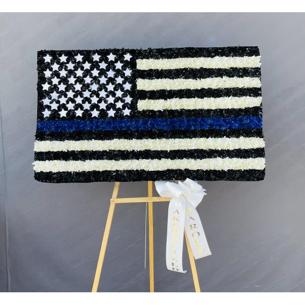 Thin Blue Line Law Enforcement Flag Custom Piece