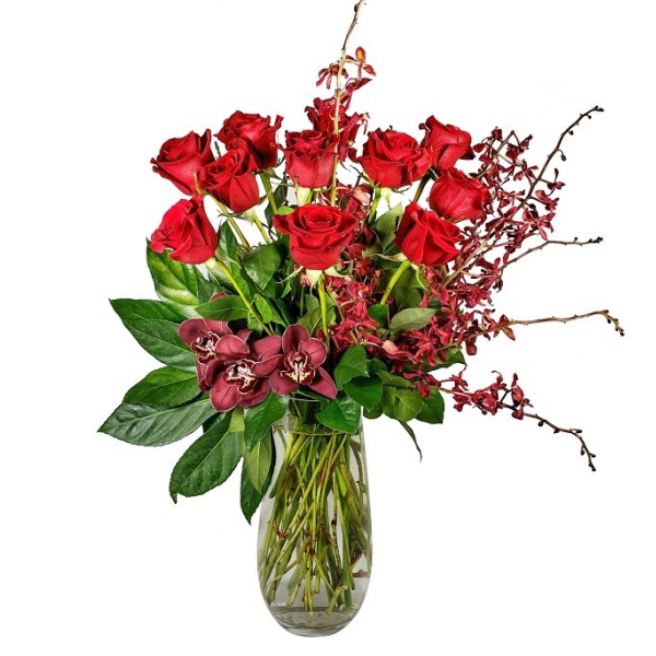 Spectacular Roses with Orchids
