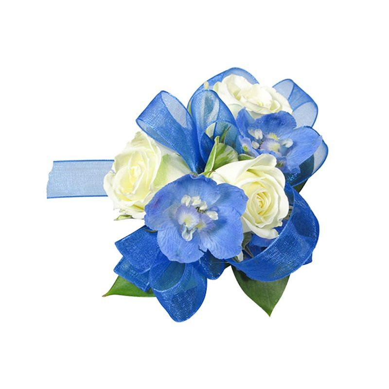 White Rose and Blue Delphinium Corsage