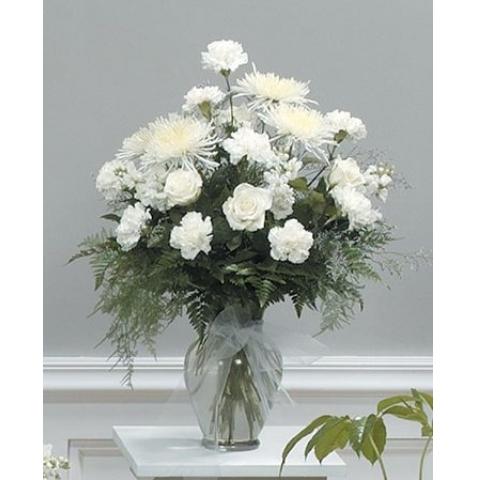 White Tribute Vase Arrangement CTT7-12