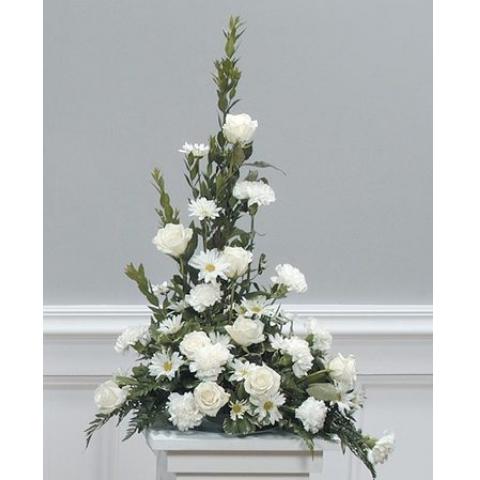 White Tribute Pedestal Arrangement CTT 11-12