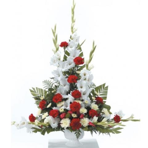 Red and White Urn Arrangement CTT24-21