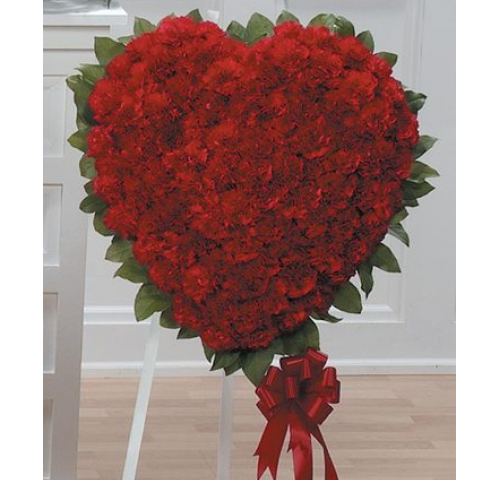 Red Carnation Heart Standing Spray CTT27-13