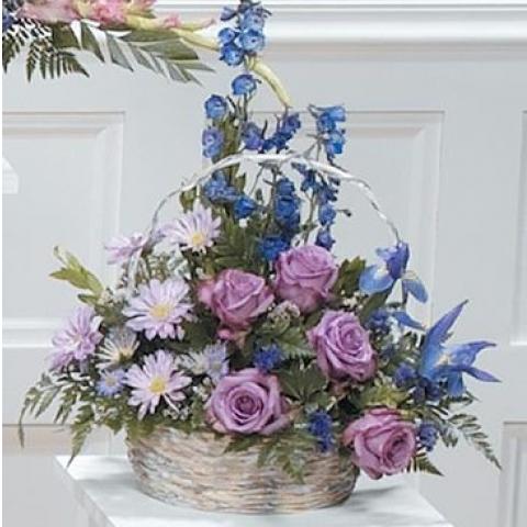 Purple and Blue Basket Arrangement CTT 69-13