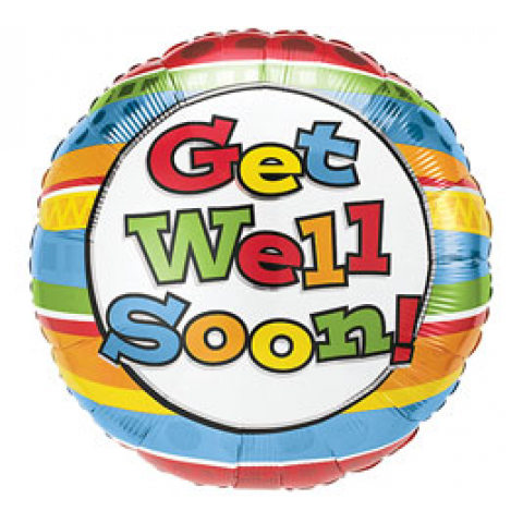 Get Well - Stripes Mylar