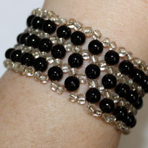 V - Black and Gold Beaded Wristlet
