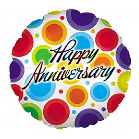 Happy Anniversary Colored Dots Mylar