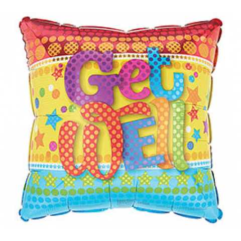 Get Well Stars & Dots Square Mylar