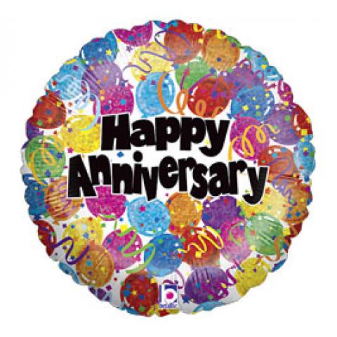 Happy Anniversary Balloons & Confetti Mylar
