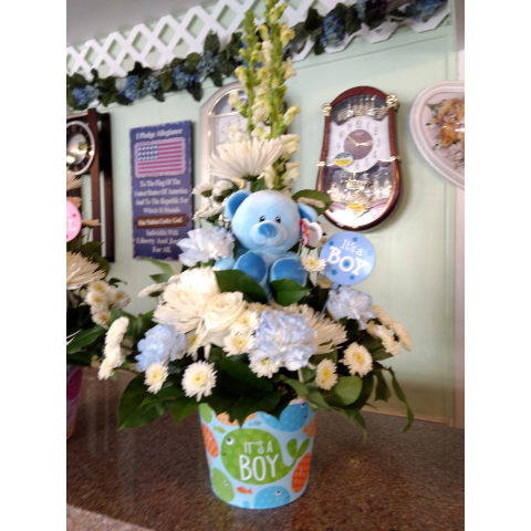 Baby Boy Fishes Bouquet with Bear