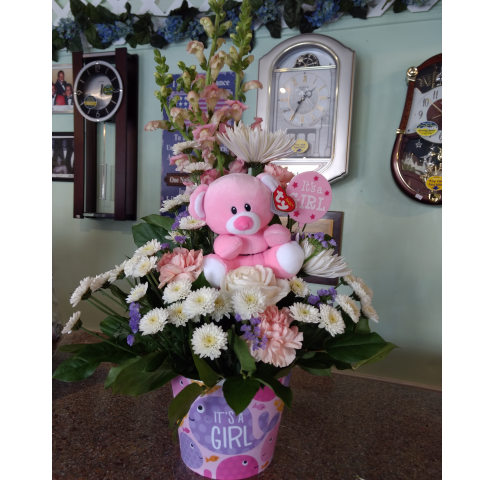 Baby Girl Fishes Bouquet with Bear