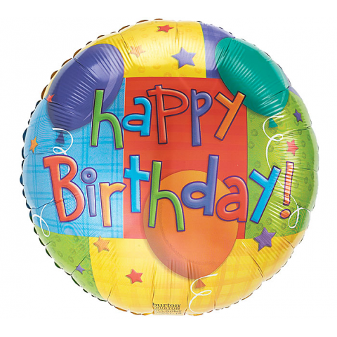 Birthday Colorful Cubes Round Mylar