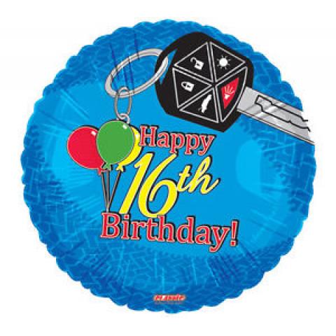 Happy 16th Birthday Mylar Keys