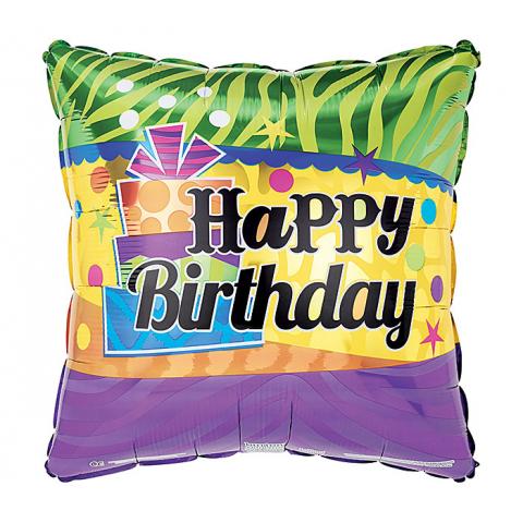 Happy Birthday Stripes and Squares Mylar
