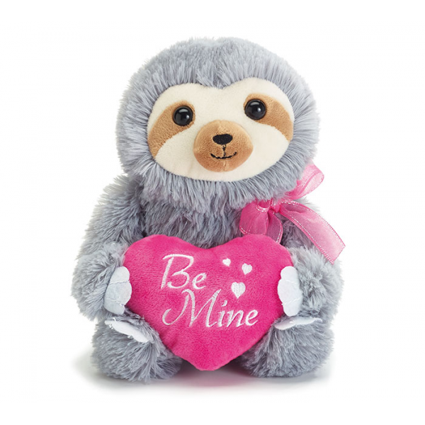 BE MINE SLOTH GRAY FUR PINK HEART