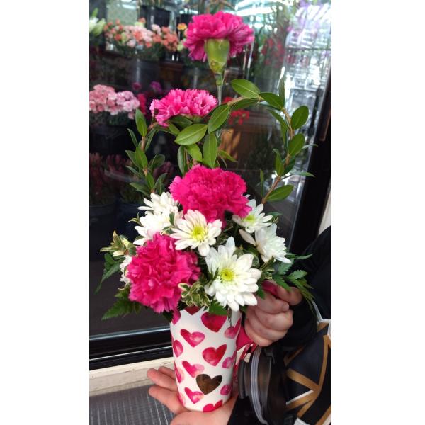 Heart travel mug bouquet