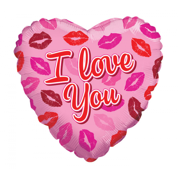 I LOVE YOU LIPS ON PINK HEART MYLAR