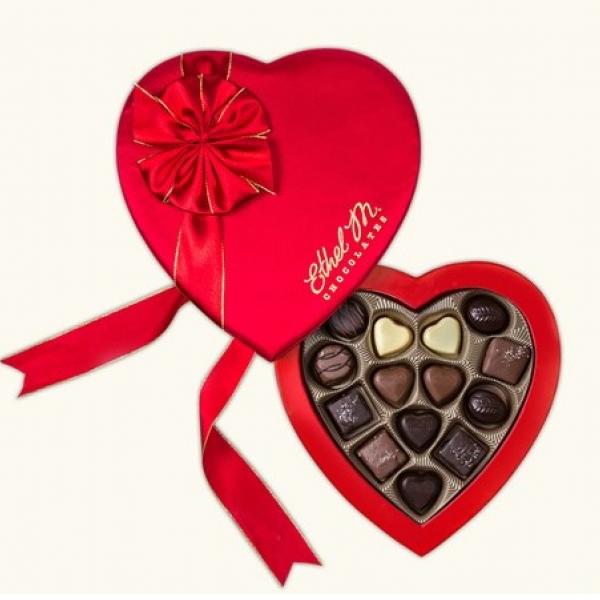 Ethel M Chocolate Heart Gift Box, 14-Piece Valentine's Day Assortment
