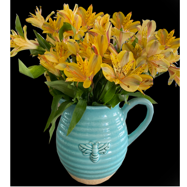 Busy Bee Pitcher with Alstromeria